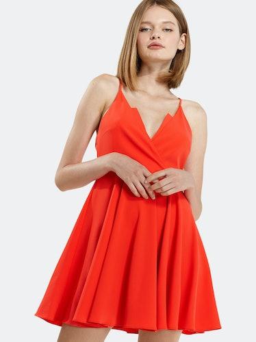 V-neck Spaghetti Strap Cocktail Dress in Poppy Red: image 1