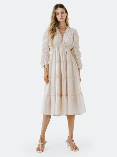 Shirring Detail Midi Dress: image 1
