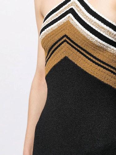 Crimp Knit Halter Striped Dress: additional image