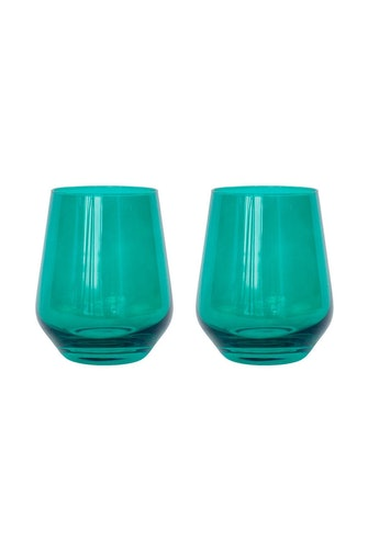 Colored Stemless Wine Glasses in Forest Green - Set of 2: image 1