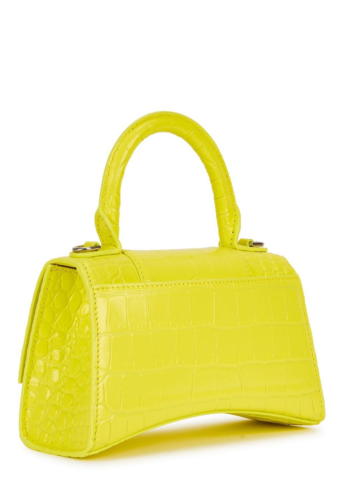 Hourglass XS crocodile-effect top handle bag: image 1