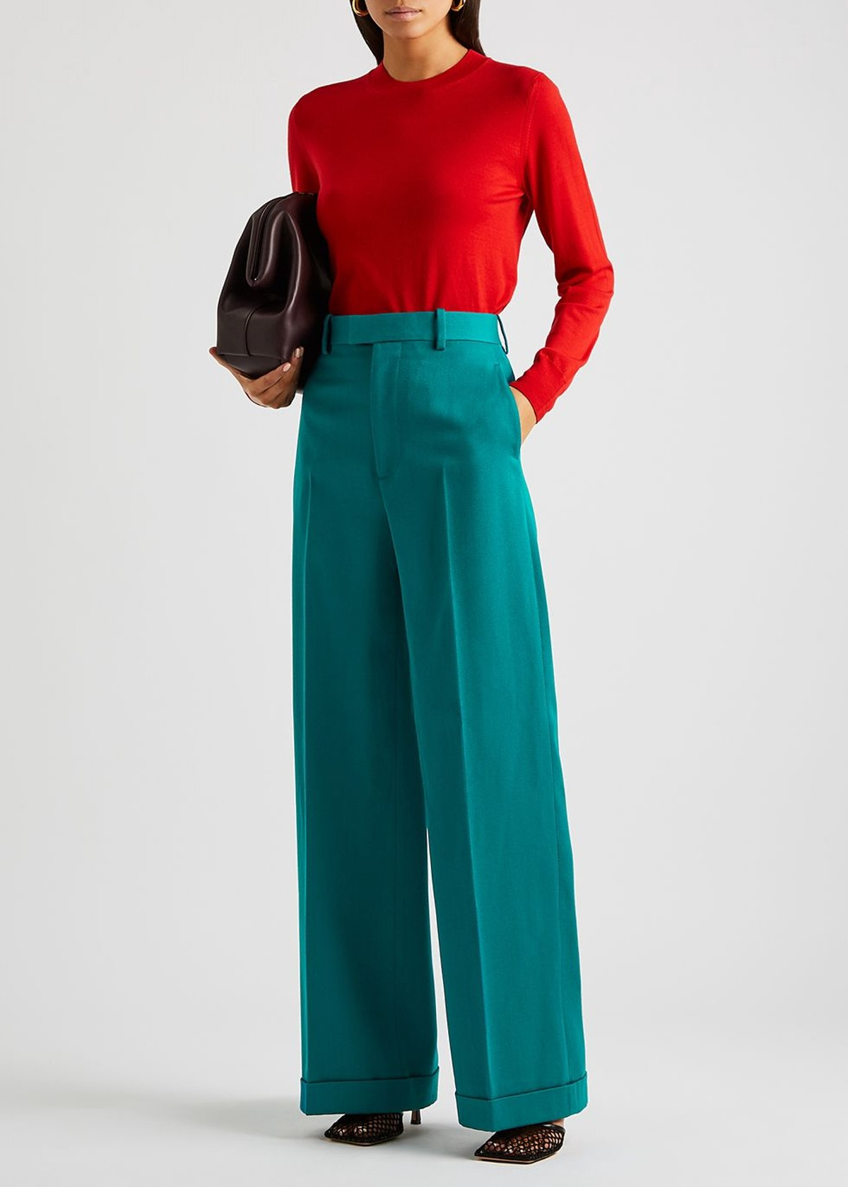 Red fine-knit wool jumper: additional image