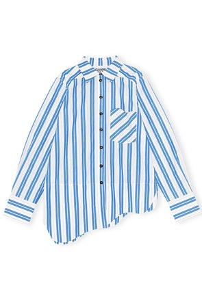 Stripe Cotton Button Down Top in Daphne: image 1