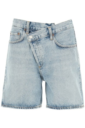 Agolde Criss Cross Denim Shorts: image 1