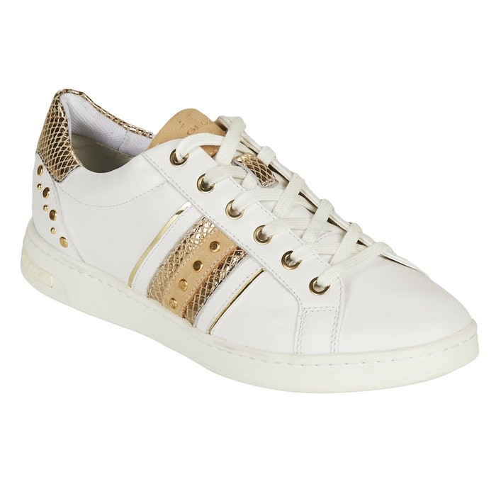 Geox Womens/Ladies Jaysen Leather Sneakers (White/Gold): image 1