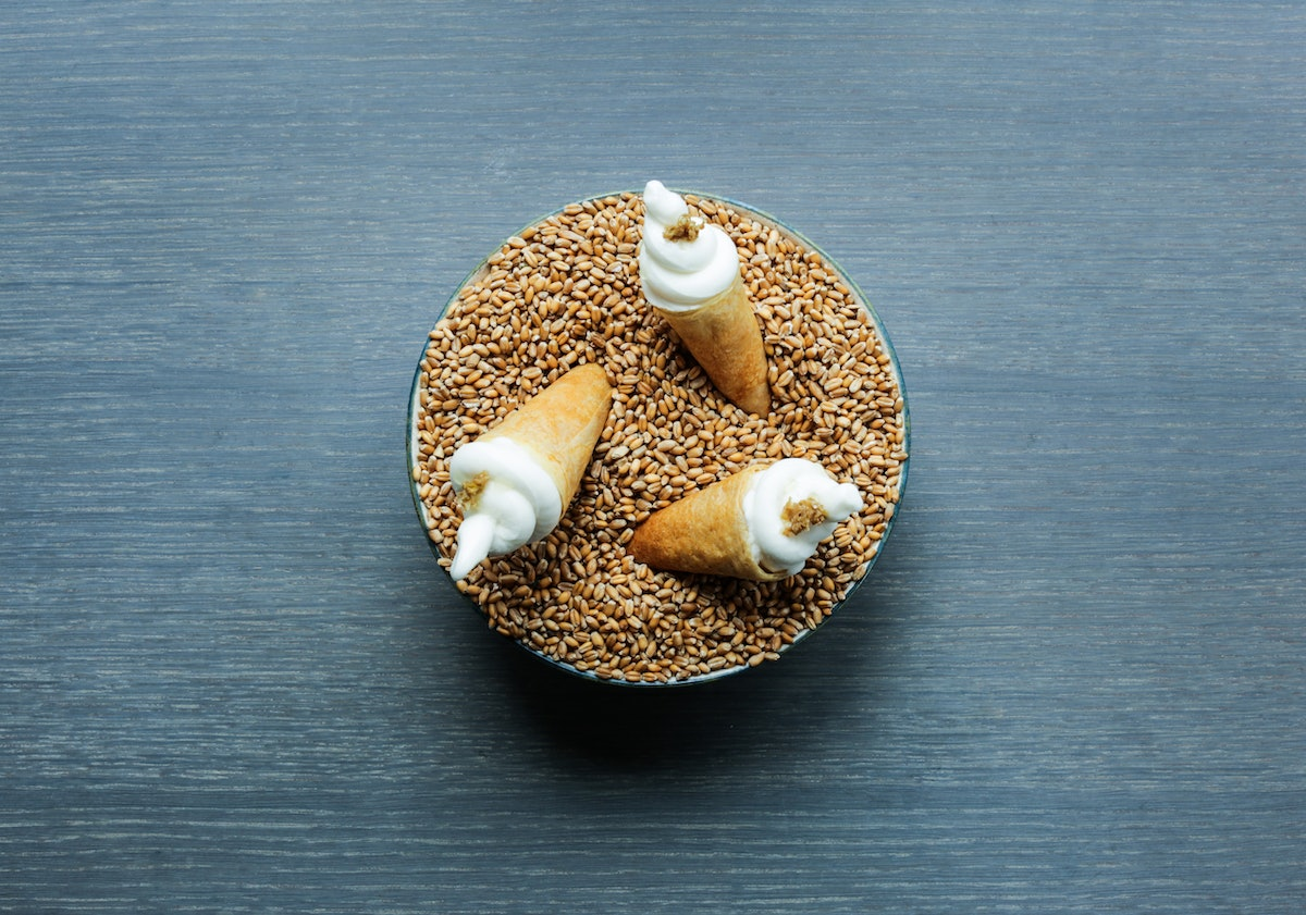 108 sourdough cone with toasted barley cream