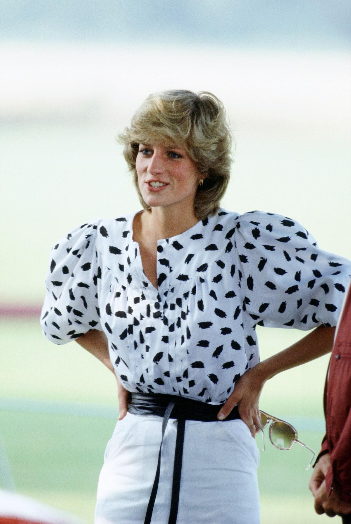 Princess Diana wearing polka dots