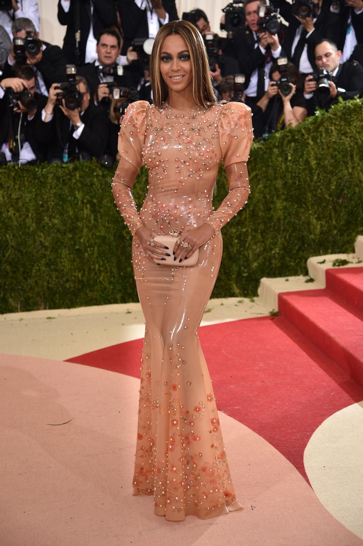 Beyonce wearing rose gold gown at met gala