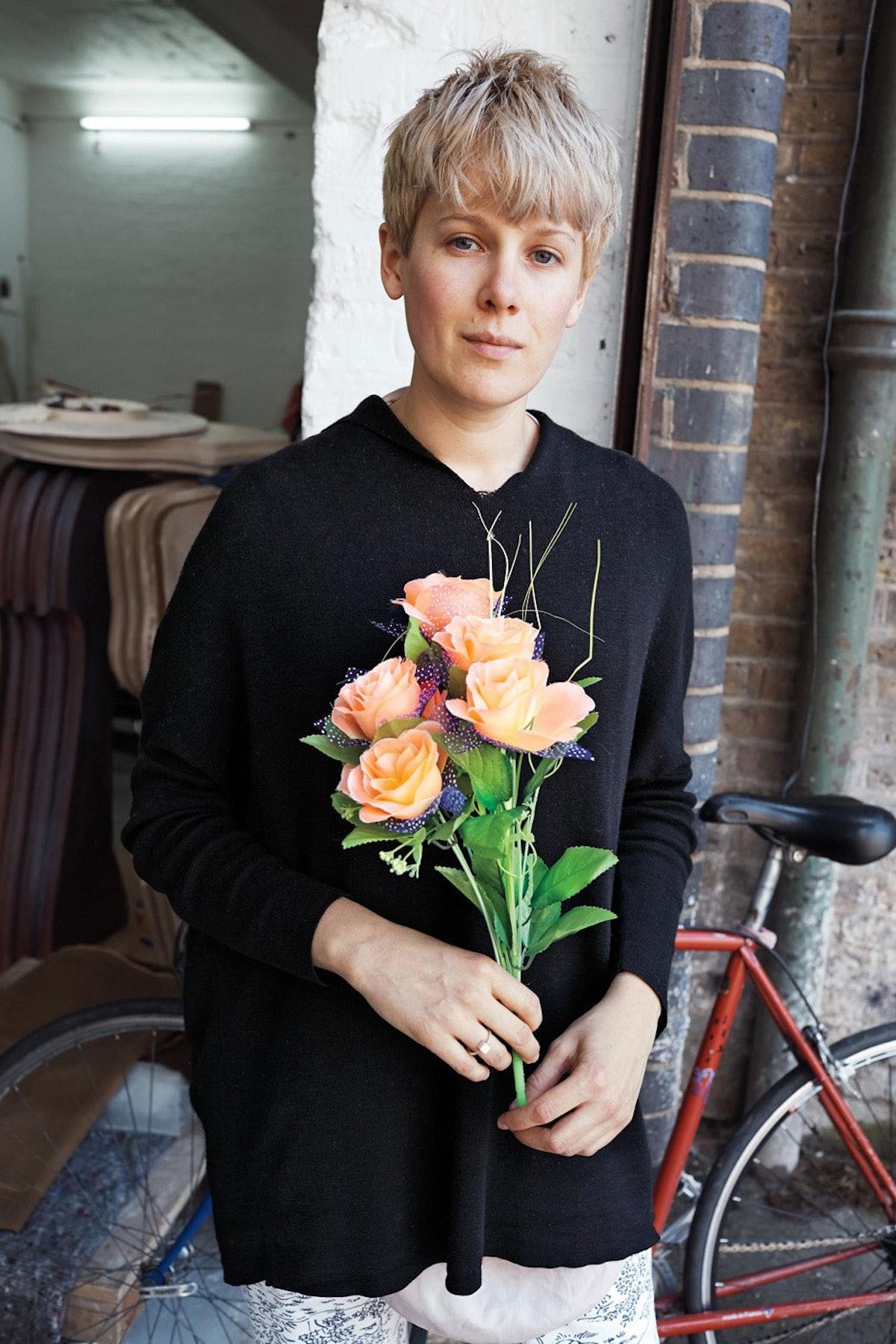 The artist Helen Marten outside her London studio.jpg