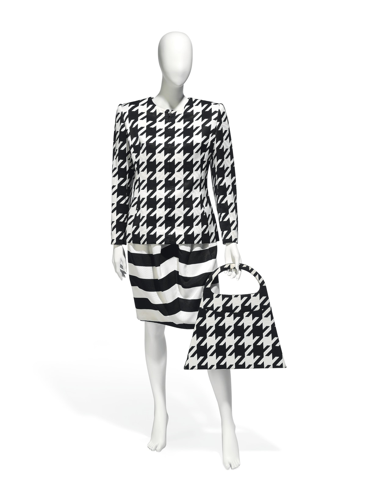 Christian Lacroix printed silk ensemble with matching over-sized handbag, 1980s