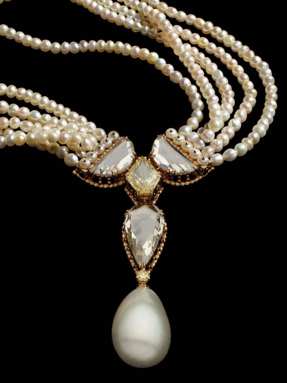 """Rose Perlée"" diamond and pearl necklace set, 1996. Design by Alexandre Reza. Courtesy of Alexandre ..."