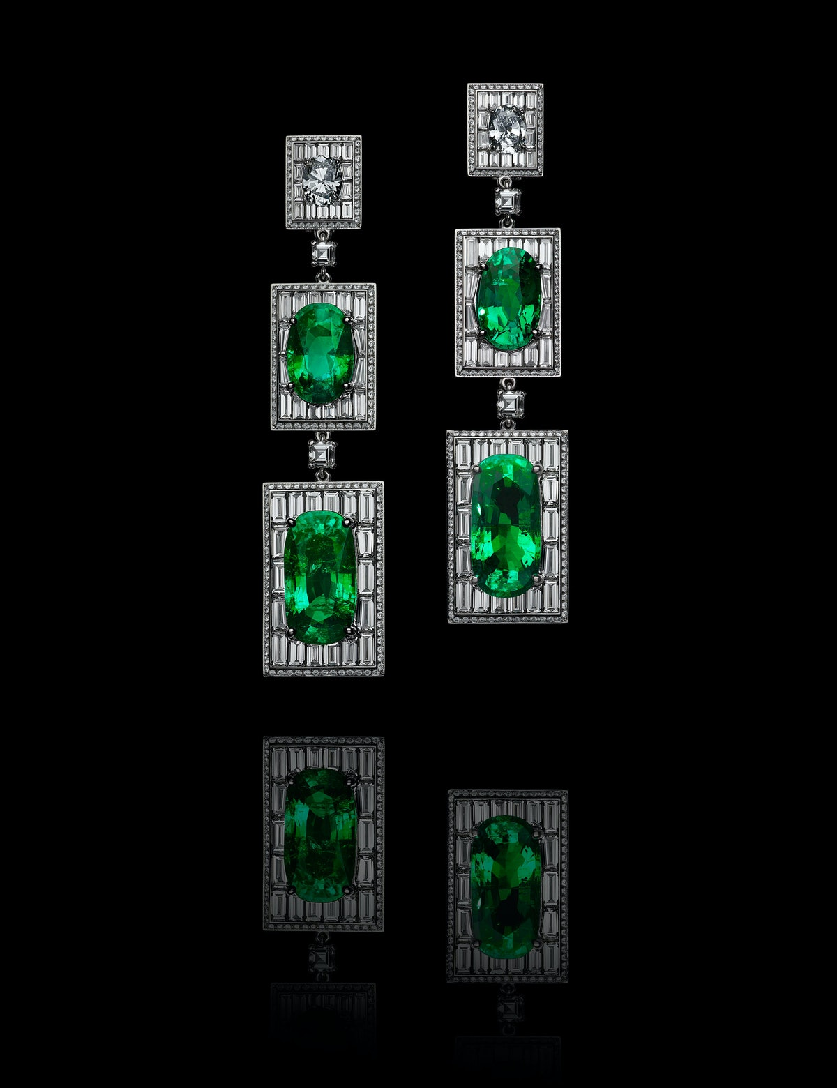 Emerald and diamond earrings, design by Olivier Reza. Courtesy of Alexandre Reza.