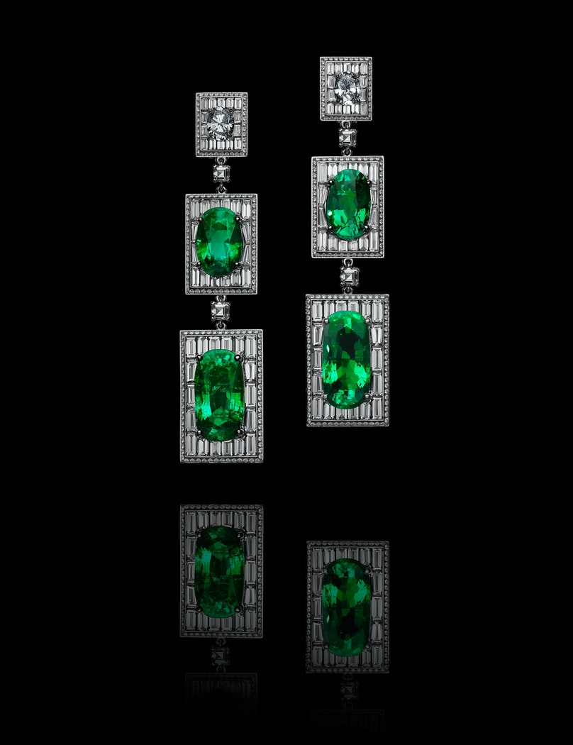 Emerald and diamond earrings, design by Olivier Reza. Courtesy of Alexandre Reza.
