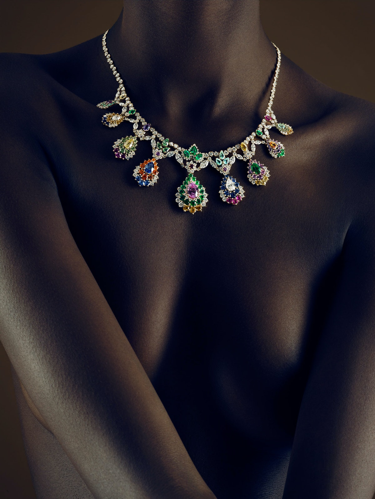 Dior Fine Jewelry gold, ruby, sapphire, garnet, tourmaline, emerald, and diamond necklace.