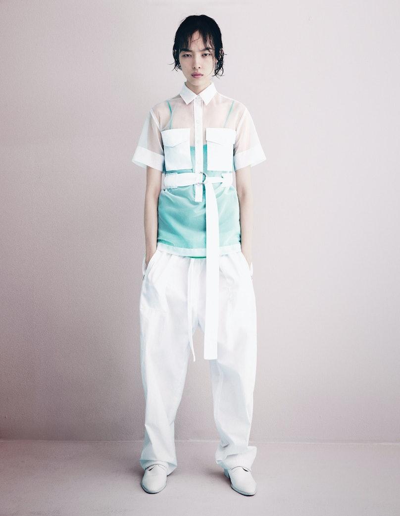 Céline top, camisole, and pants; J.W. Anderson shoes.