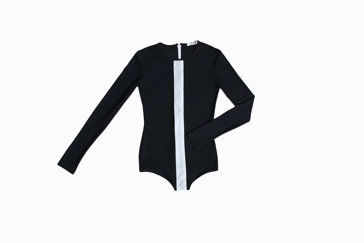 Cover long sleeve white stripe one piece,