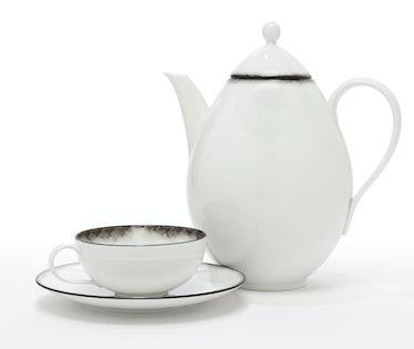 Bottega Veneta tea cup, $290, saucer, $90, and teapot, $520, bottegavenea.com.