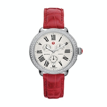 Michele stainless steel and diamond watch, $1,895, michele.com.