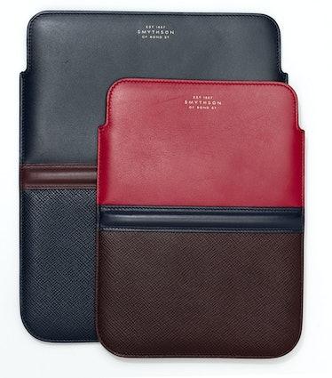 Smythson iPad sleeve and iPad mini sleeve, $330 each, smythson.com.