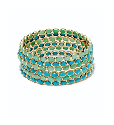 Emily & Ashley gold and chrysoprase and gold and turquoise bangle
