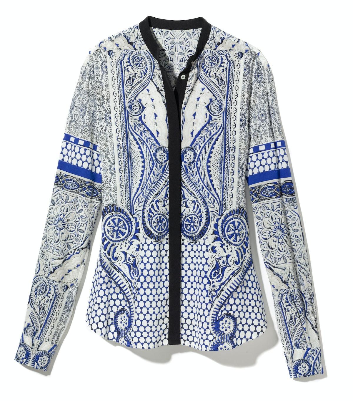 Roberto Cavalli blouse, $1,420, similar styles at robertocavalli.com.