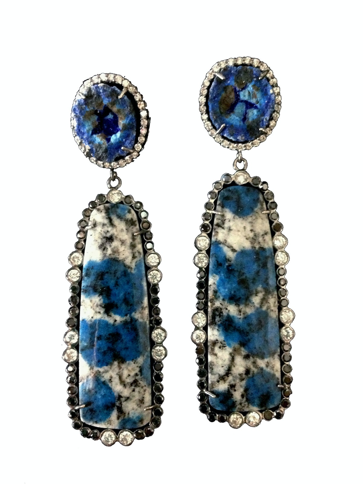 Colette gold, azurite, and diamond earrings
