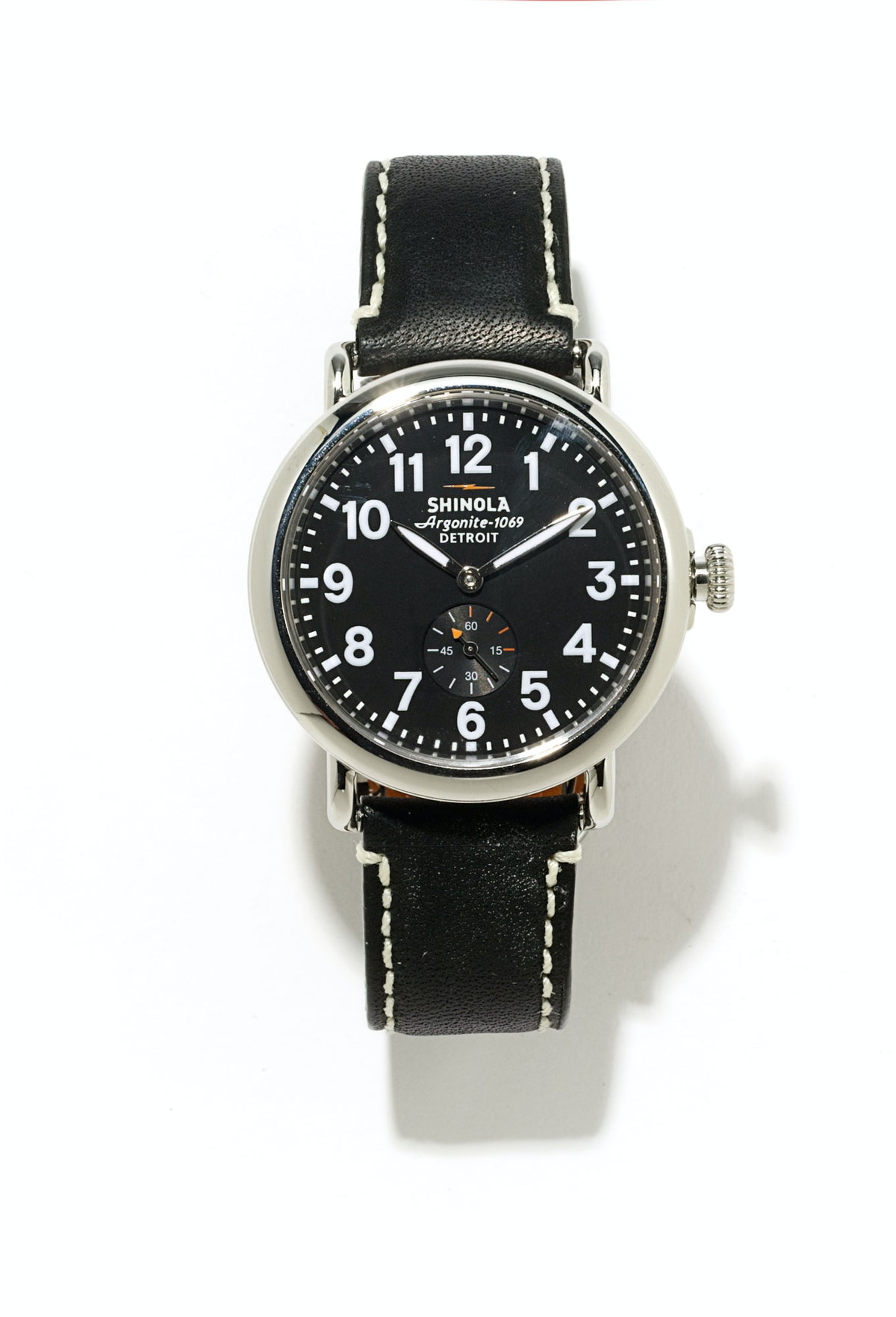 Shinola watch, $550, Barneys New York.