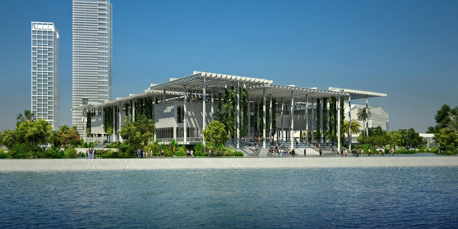 A rendering of the museum seen from the bay.