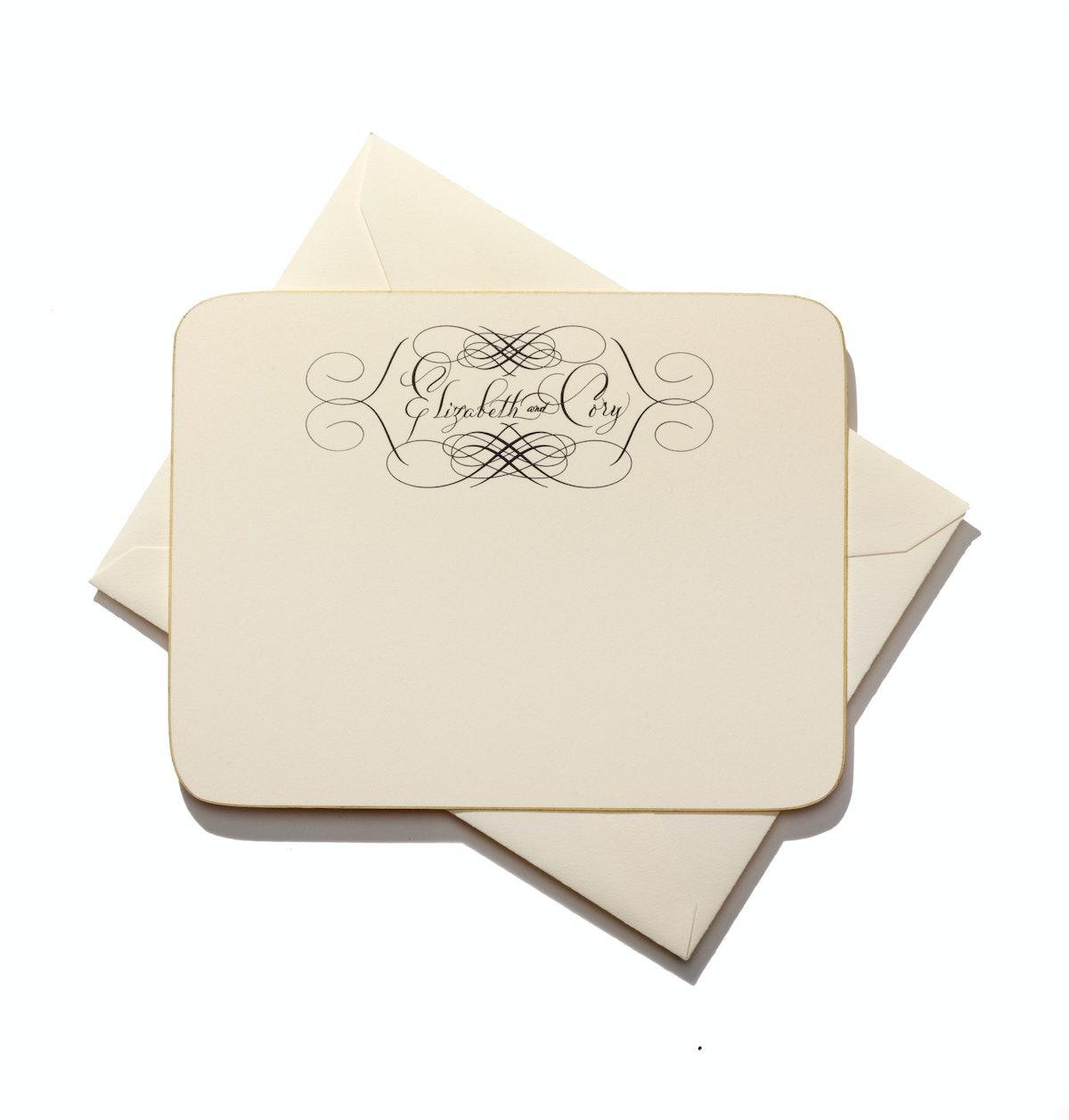 Bernard Maisner Calligraphy and Fine Stationery custom stationery, starting at $1,200 for set of 100...