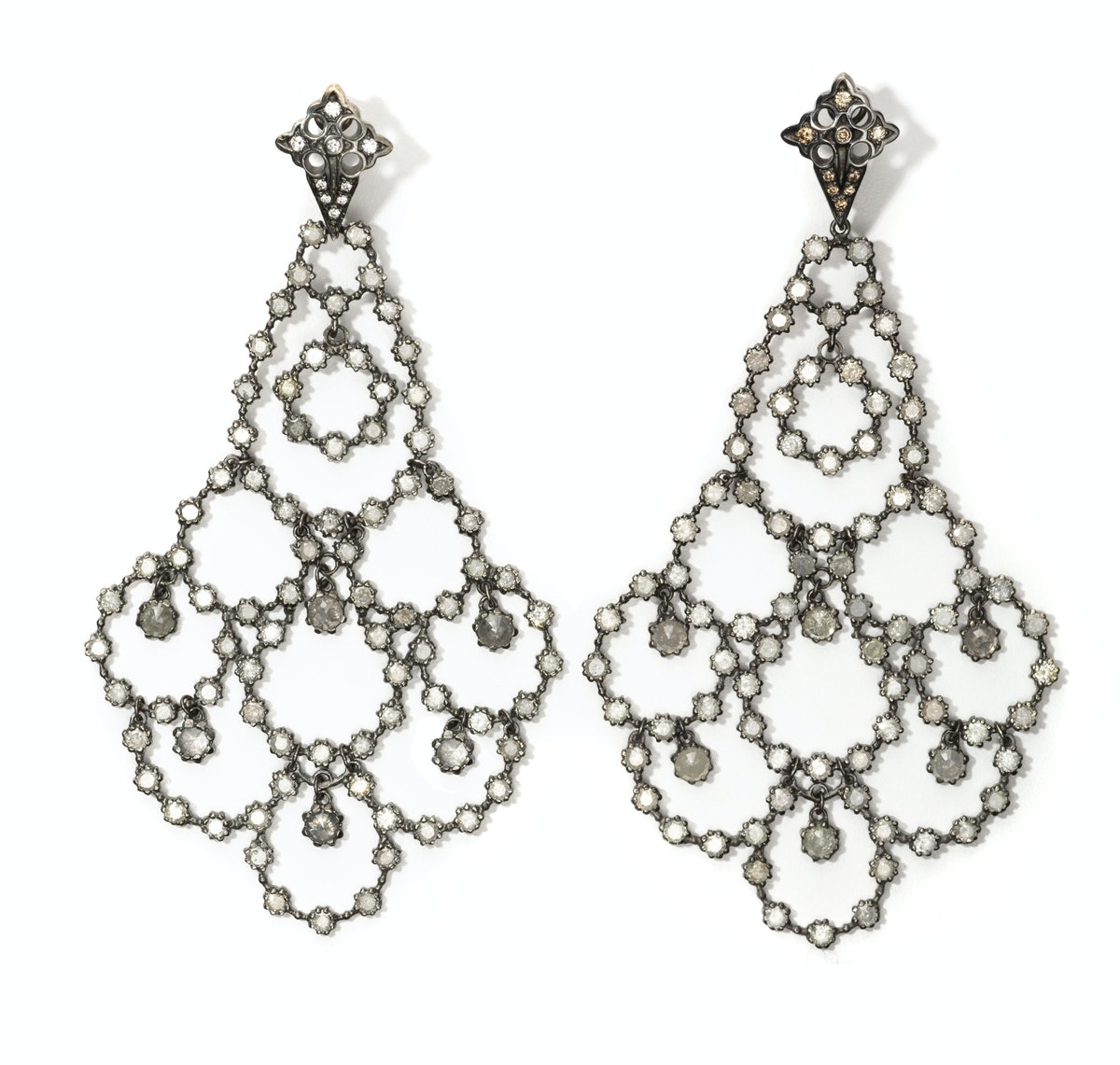 Loree Rodkin gold, rhodium, and diamond earrings, $38,375, Bergdorf Goodman, New York.