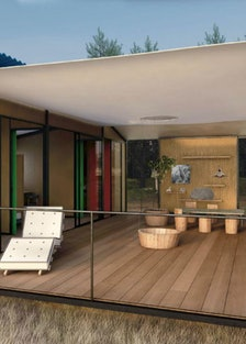 A rendering of Perriand's *La Maison au Bord de l'Eau* (*The House at Water's Edge*), 2013. Courtesy...