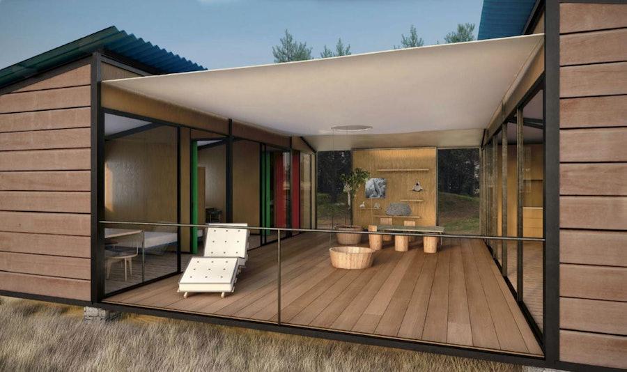 A rendering of Perriand's *La Maison au Bord de l'Eau* (*The House at Water's Edge*), 2013. Courtesy of Louis Vuitton.