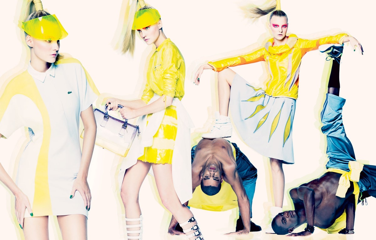 """Working up a sweat in February 2013's """"Fast and Chic: Sporty Spice,"""" shot by Tom Munro and styled by..."""