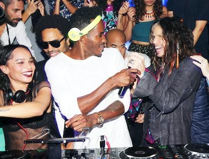 Zoe Kravitz, Lenny Kravitz, DJ Ruckus, and Steven Tyler. Photo by BFAnyc.com.