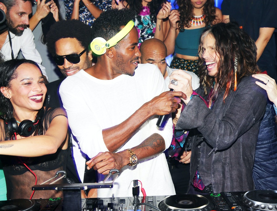 Zoe Kravitz, Lenny Kravitz, DJ Ruckus, and Steven Tyler. Photo by BFAnyc.com.