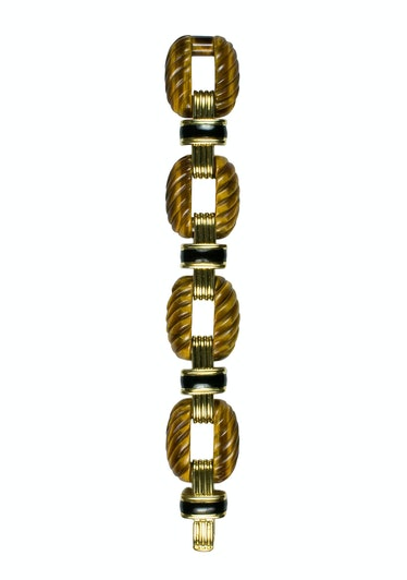 David Webb gold, tiger's-eye, and enamel bracelet, $40,600, David Webb, New York, 212.421.3030.