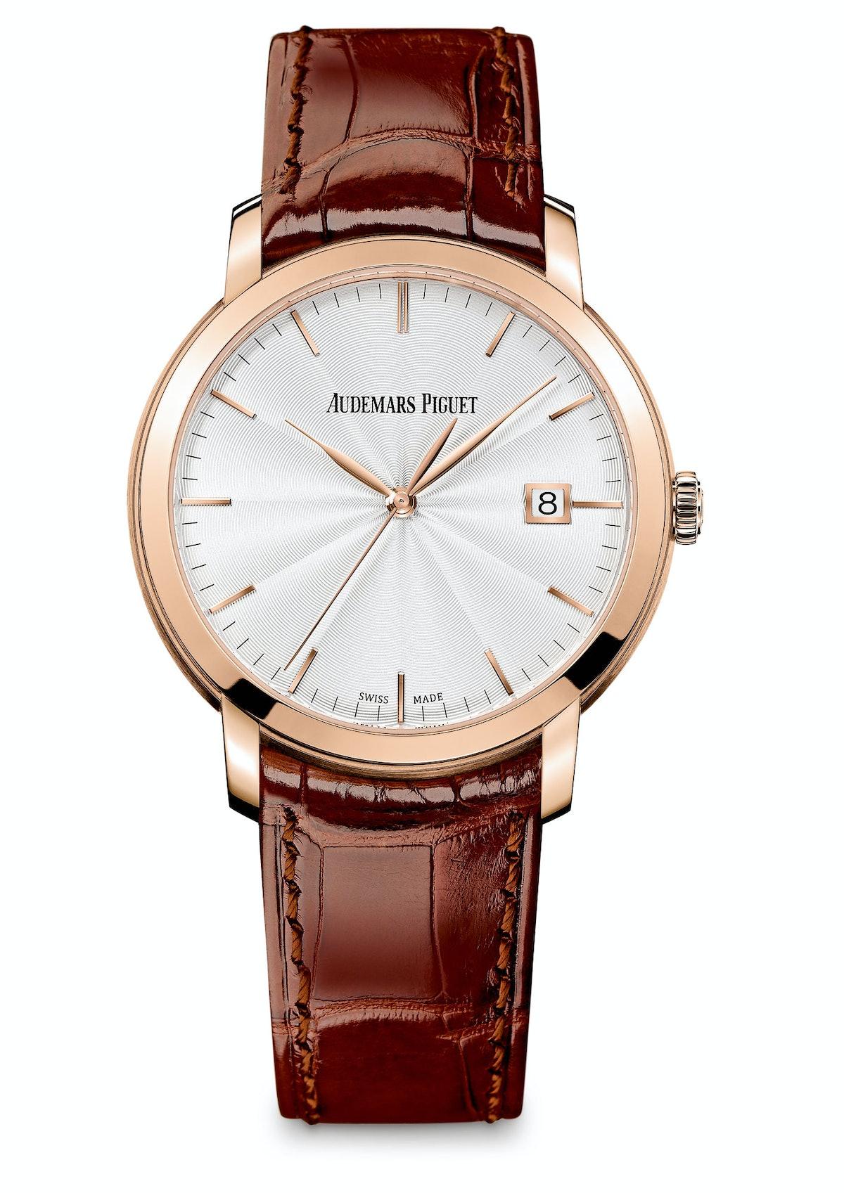 Audemars Piguet gold watch, $21,800, audemarspiguet.com.