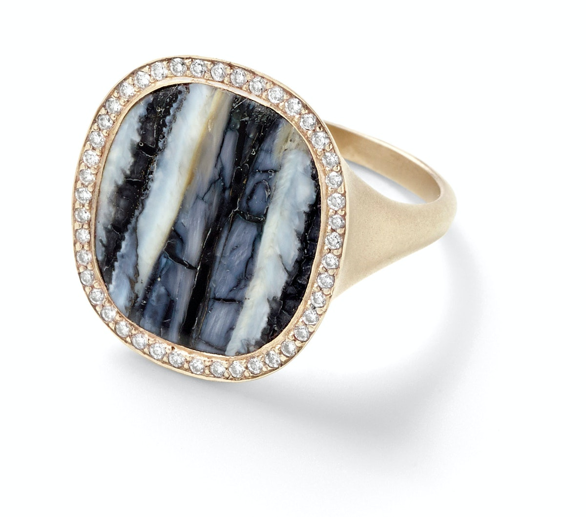 Monique Péan gold, fossilized woolly mammoth tooth, and diamond ring, $8,735, Barneys New York, New York, 212.826.8900.