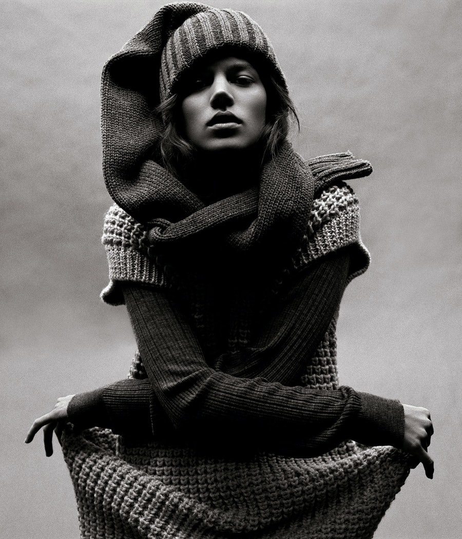 "All wrapped up in ""Relax,"" shot by Michael Thompson and styled by Karl Templer, July 2006."