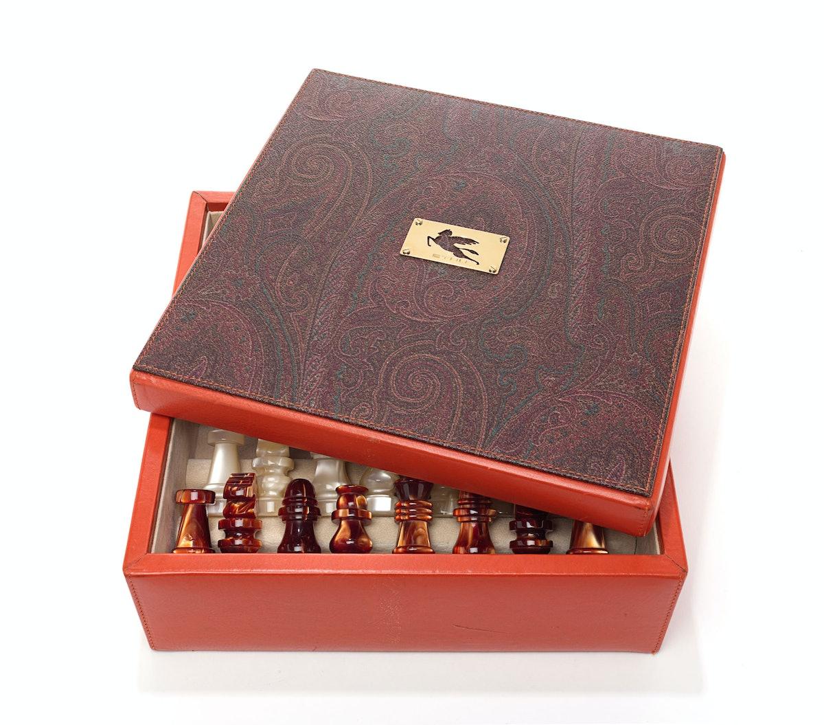 Etro chess set, $2,506, [saks.com](http://rstyle.me/n/drh8d3w3n).