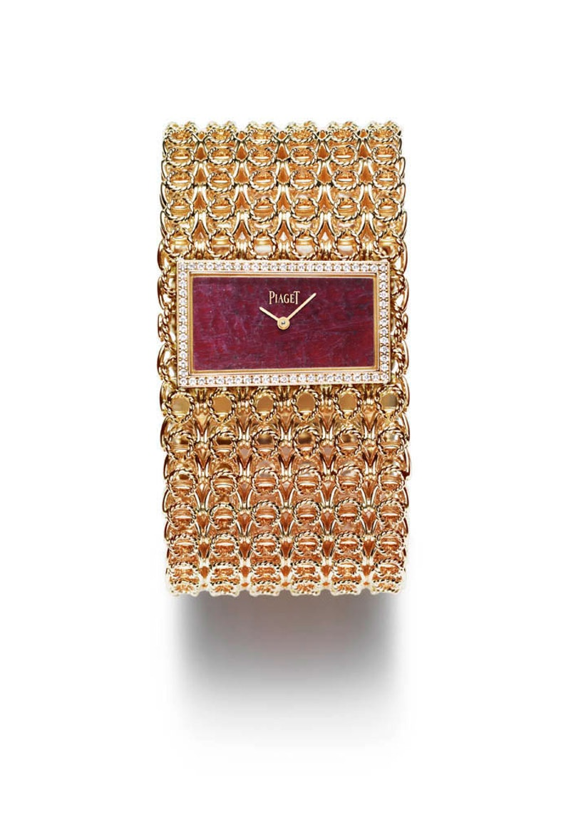 Piaget gold, ruby, and diamond watch, $124,000, piaget.com.