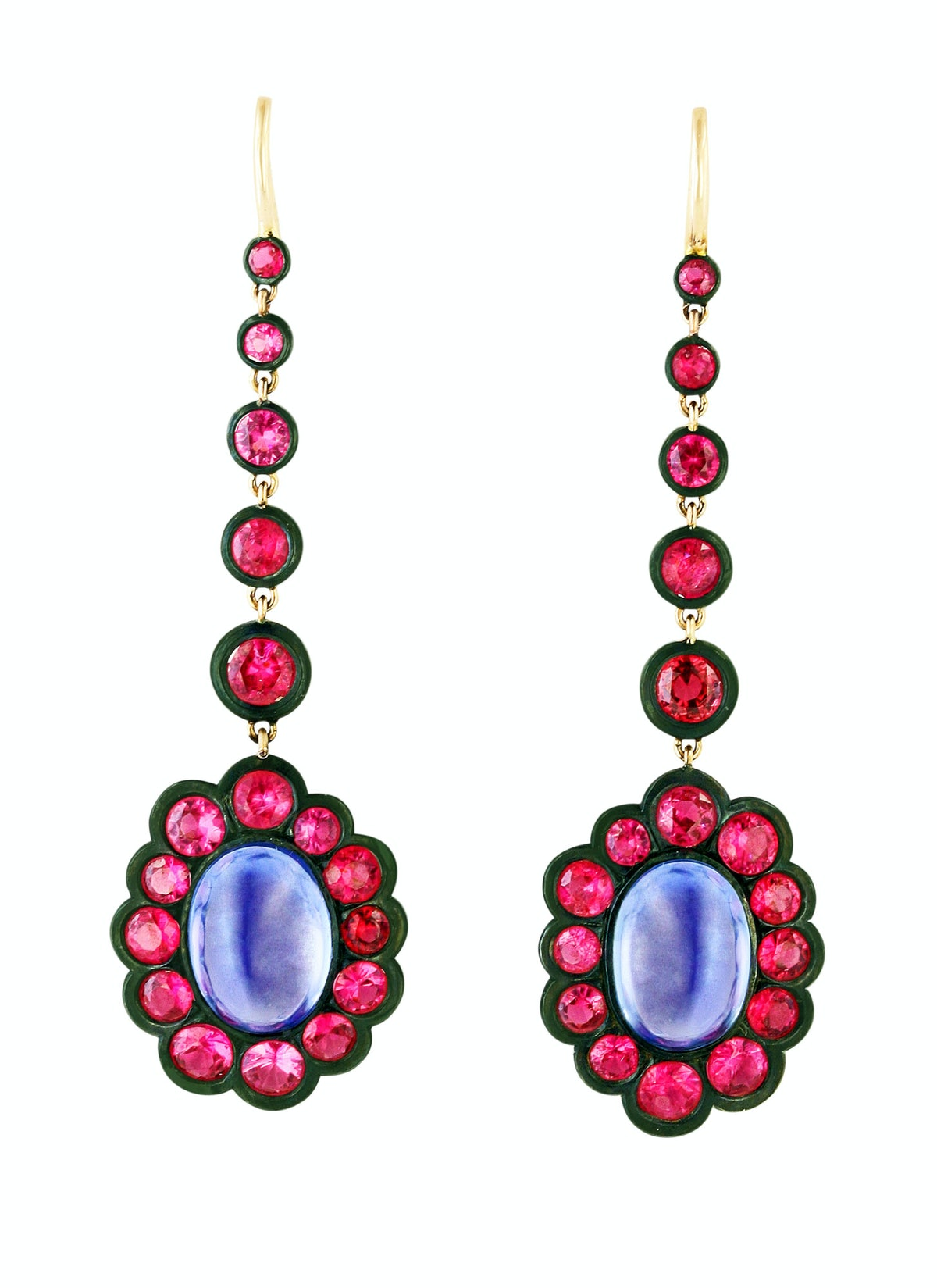 James de Givenchy for Taffin gold, steel, sapphire, and spinel earrings, $50,000, by appointment, Ta...