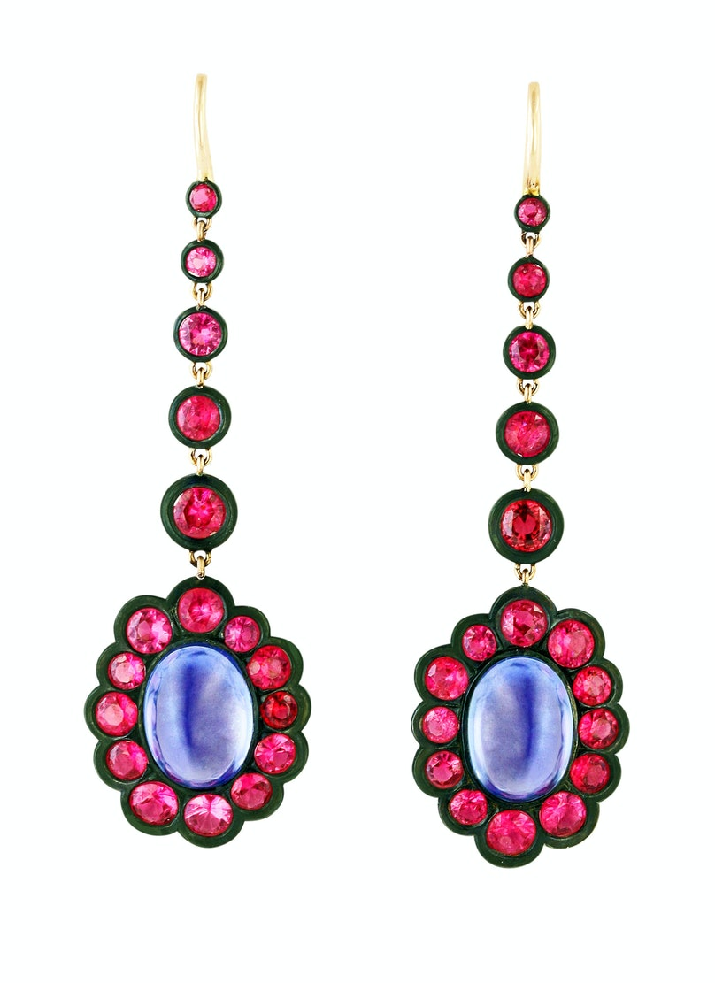 James de Givenchy for Taffin gold, steel, sapphire, and spinel earrings, $50,000, by appointment, Taffin, New York, 212.421.6222.