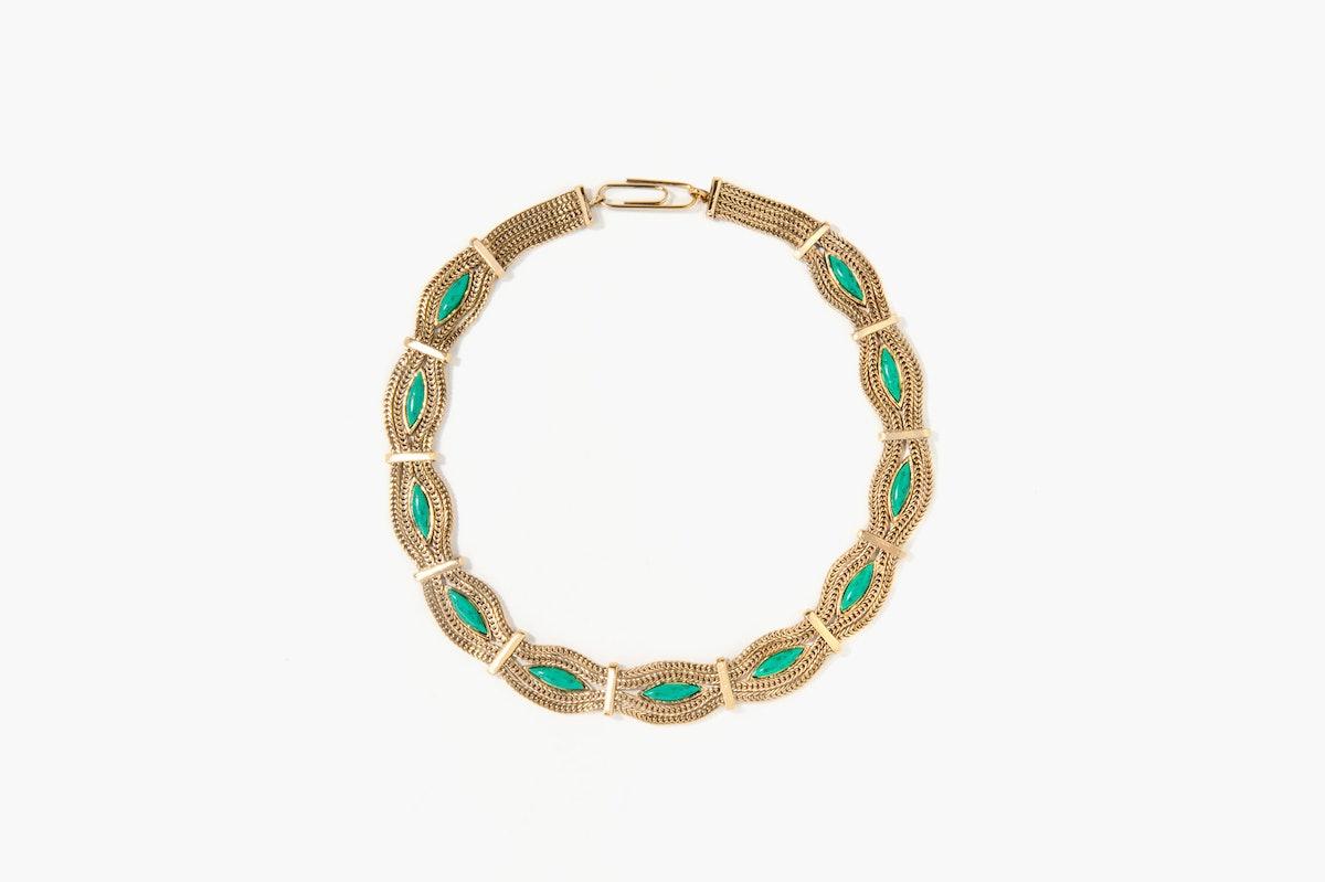 Aurélie Bidermann gold-dipped and turquoise necklace, $1,525, aureliebidermann.com.