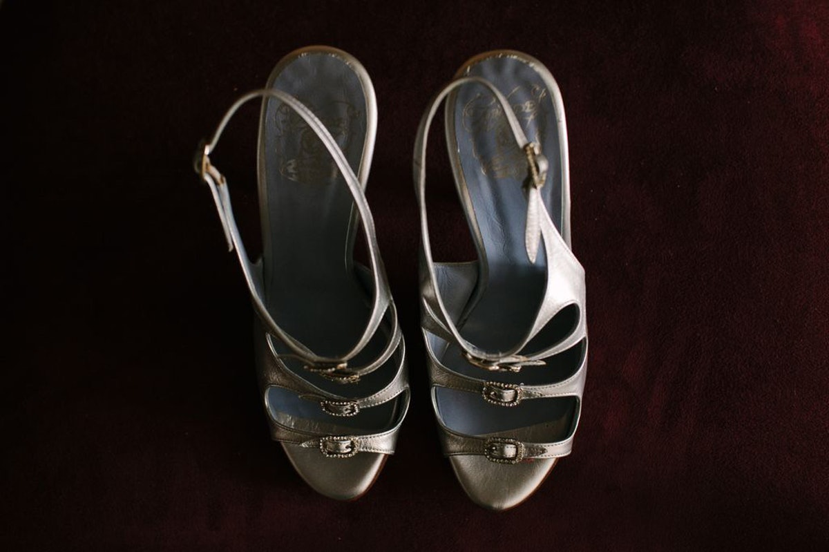Paola Bay, who designs the brand Zoraide, made me a great pair of silver heels to wear with my Nina ...