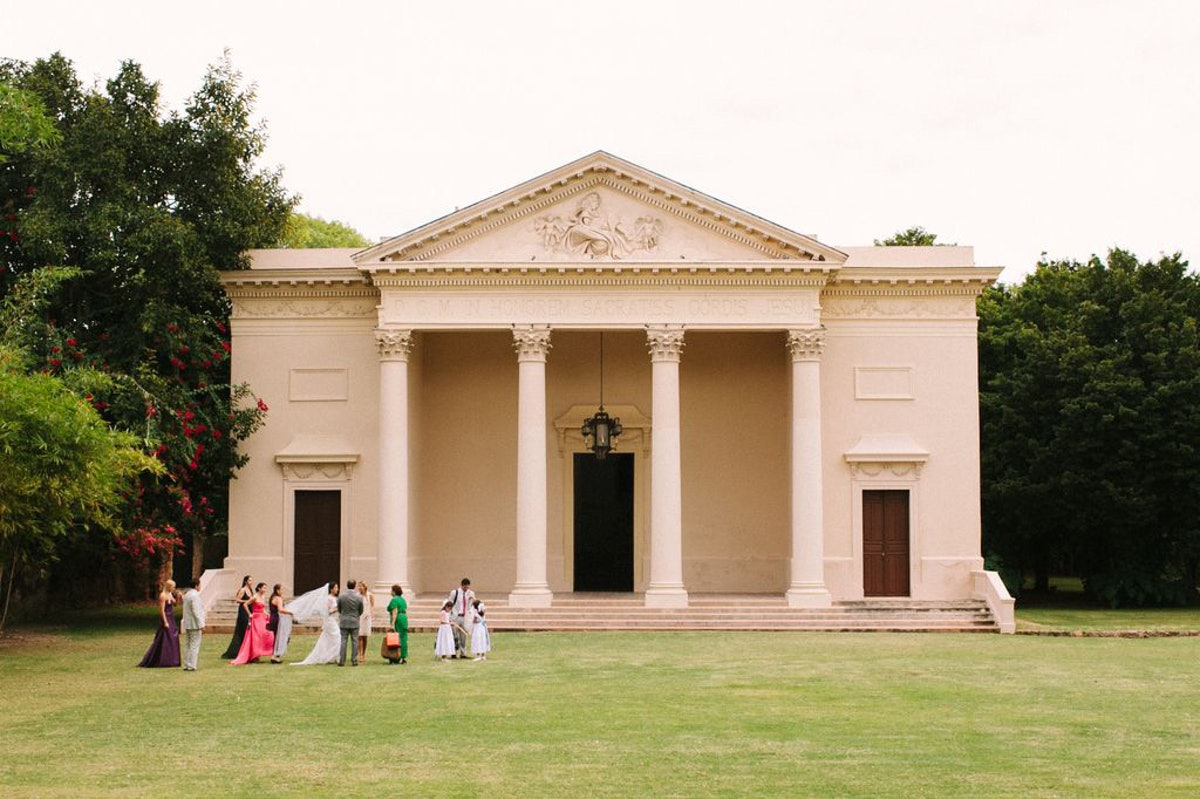 We took pictures before the party at the Hacienda's neo-classical style chapel.
