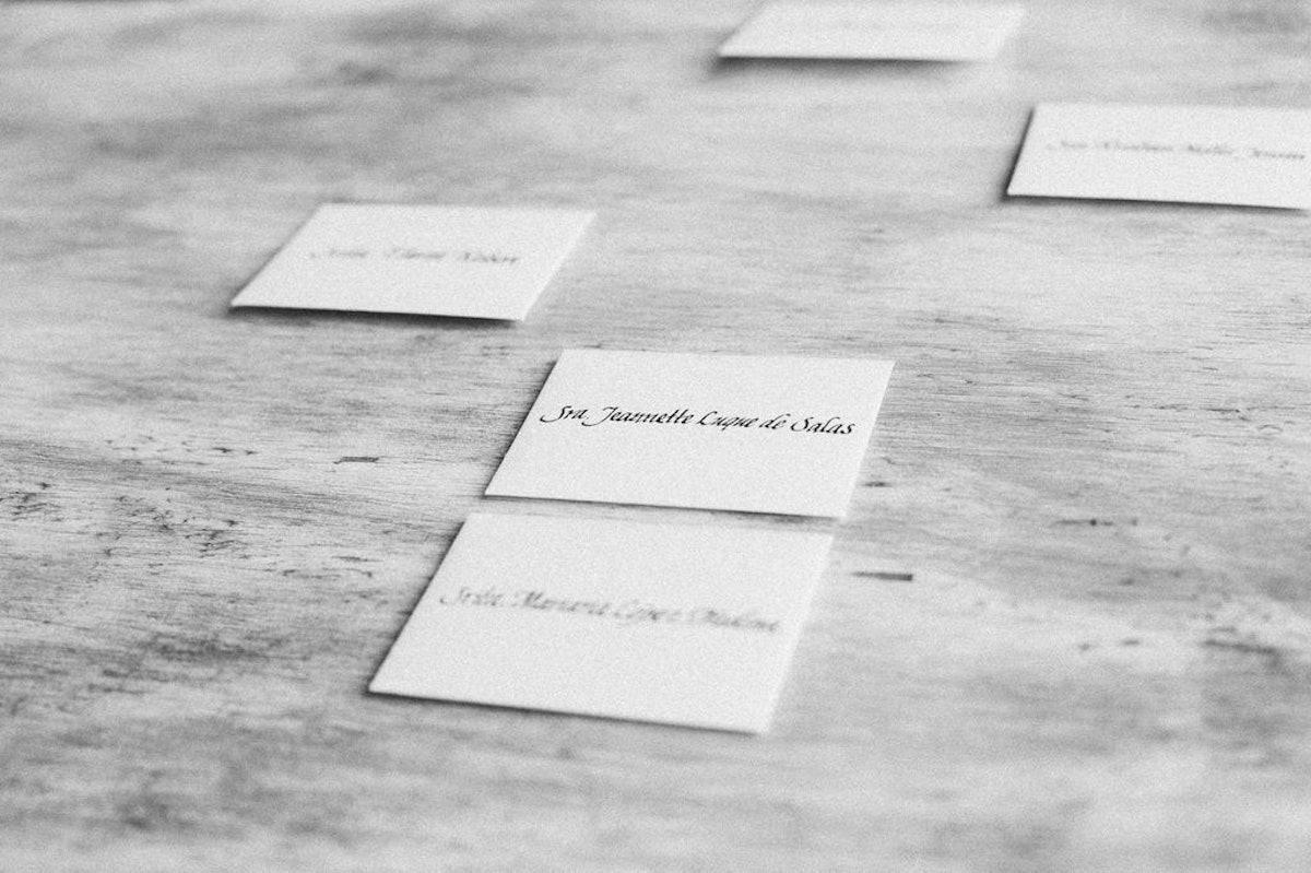My friend from Ciudad Juarez, Irma Bravo, a talented calligrapher, made my minimalist place cards.
