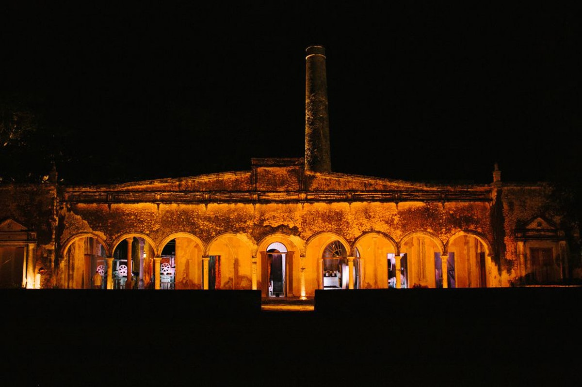 The engine room at the Hacienda was illuminated at night.