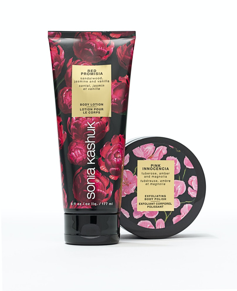 Sonia Kashuk Body Lotion in Red Promisia, $9; Exfoliating Body Polish in Pink Innocencia, $11, [target.com](http://rstyle.me/n/dudhw3w3n).