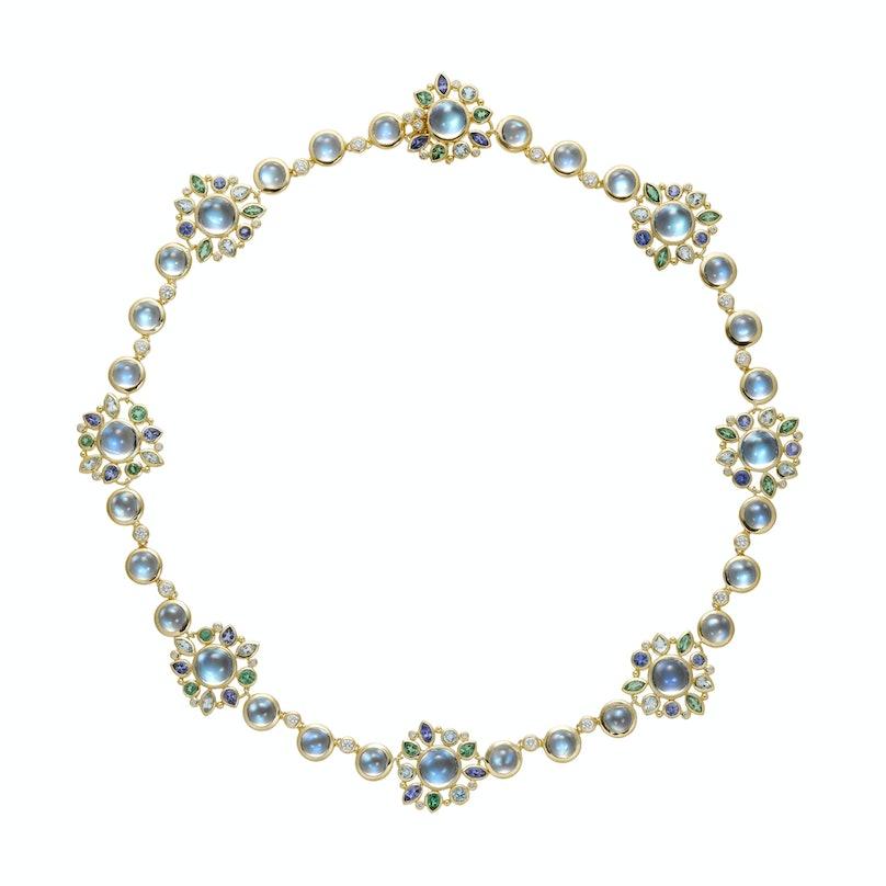 Temple St. Clair gold, moonstone, aquamarine, tanzanite, tsavorite, and diamond necklace,$42,500, Saks Fifth Avenue, New York, 212.753.4000.